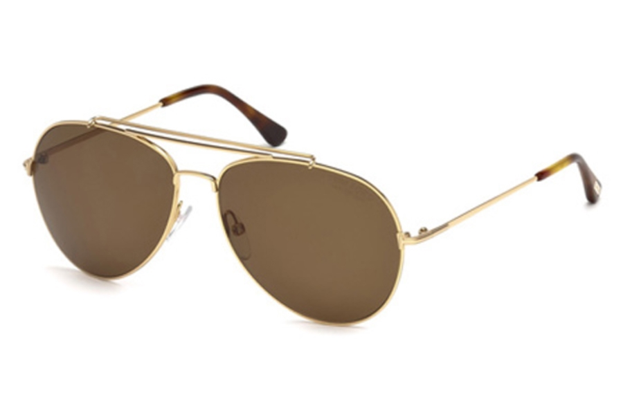 Tom Ford FT0497 Indiana Sunglasses in 28H - Shiny Rose Gold / Brown Polarized