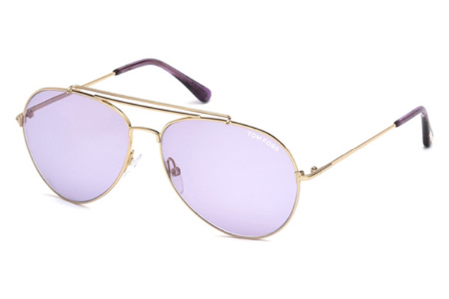 Tom Ford FT0497 Indiana Sunglasses in 28Y - Shiny Rose Gold / Violet