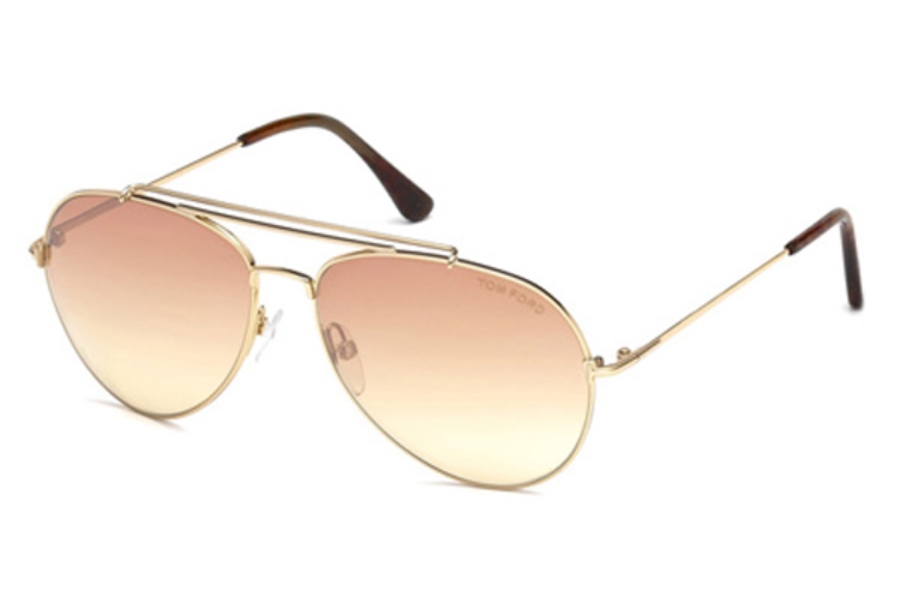 Tom Ford FT0497 Indiana Sunglasses in 28Z - Shiny Rose Gold / Gradient