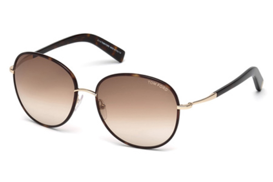 Tom Ford FT0498 Georgia Sunglasses in 52F - Dark Havana / Gradient Brown