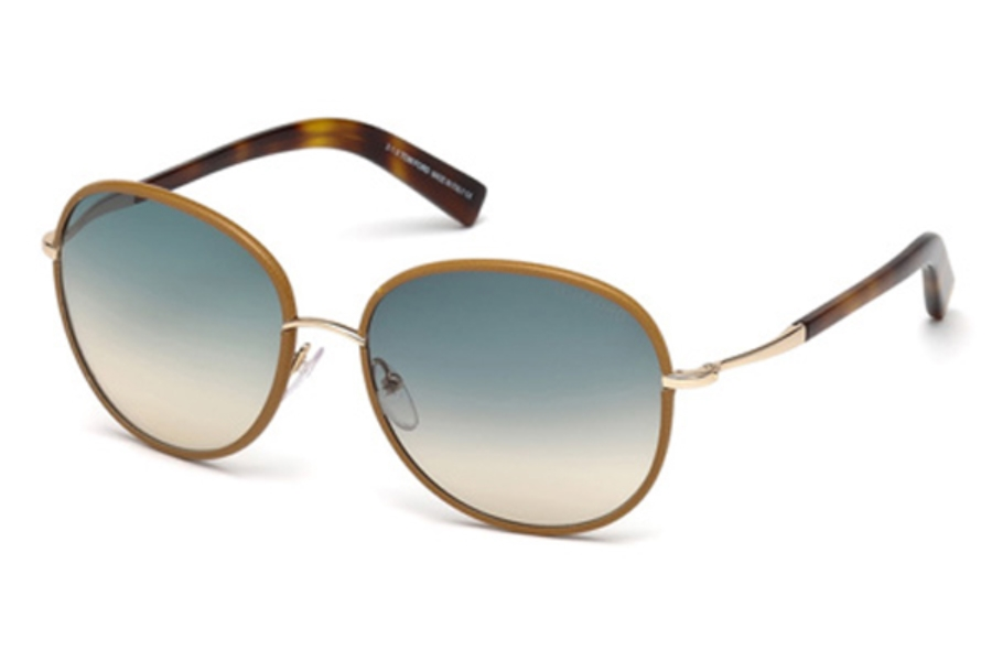 Tom Ford FT0498 Georgia Sunglasses in 60W - Beige Horn / Gradient Blue