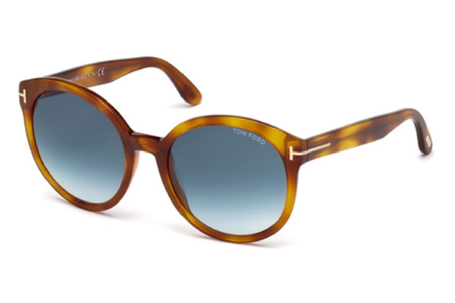 Tom Ford FT0503 Philippa Sunglasses in 53W - Blonde Havana / Gradient Blue