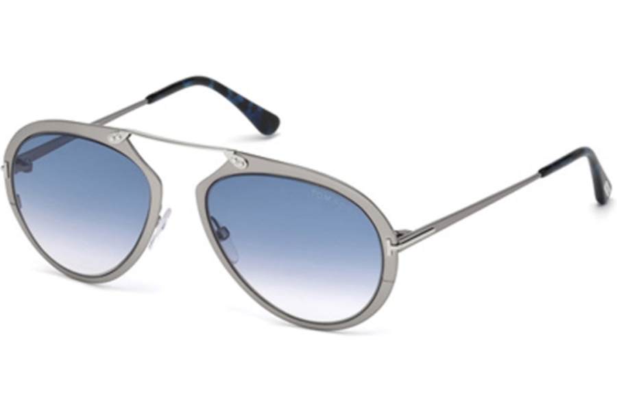 Tom Ford FT0508 Dashel Sunglasses in 12W - Shiny Dark Ruthenium / Gradient Blue