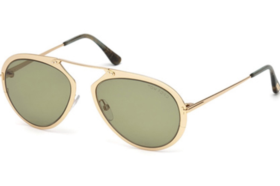 Tom Ford FT0508 Dashel Sunglasses in 28N - Shiny Rose Gold / Green