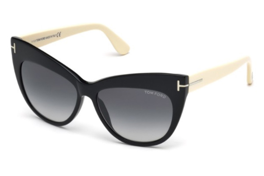 Tom Ford FT0523 Nika Sunglasses in 01B - Shiny Black / Gradient Smoke