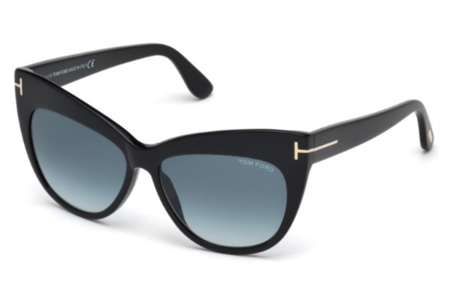 Tom Ford FT0523 Nika Sunglasses in 01W - Shiny Black / Gradient Blue