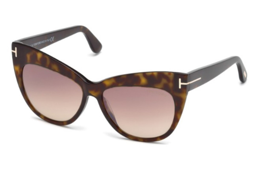 Tom Ford FT0523 Nika Sunglasses in 52G - Dark Havana / Brown Mirror