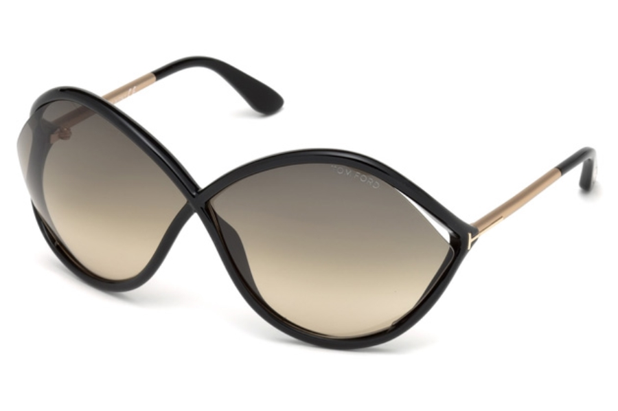 Tom Ford FT0528 Liora Sunglasses in 01B - Shiny Black / Gradient Smoke