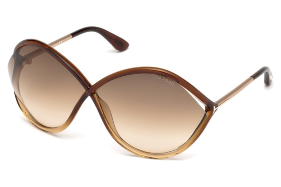 Tom Ford FT0528 Liora Sunglasses in 50F - Dark Brown/other / Gradient Brown