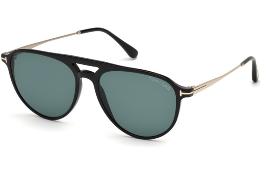 Tom Ford FT0587 Carlo-02 Sunglasses in 01V - Shiny Black / Blue