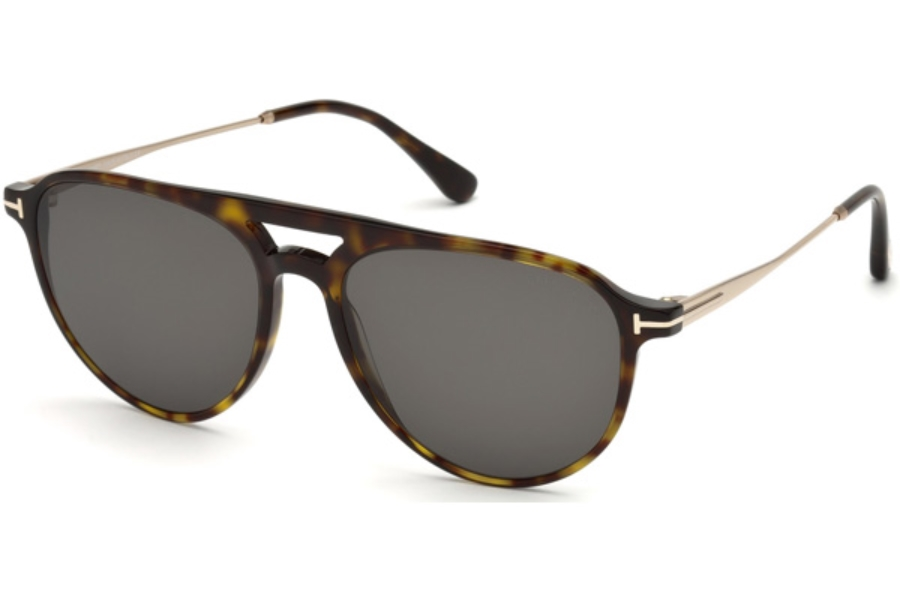 Tom Ford FT0587 Carlo-02 Sunglasses in 52A - Dark Havana / Smoke