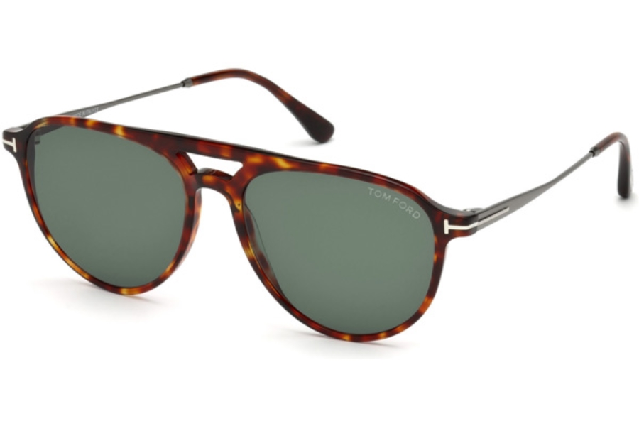 Tom Ford FT0587 Carlo-02 Sunglasses in 54N - Red Havana / Green