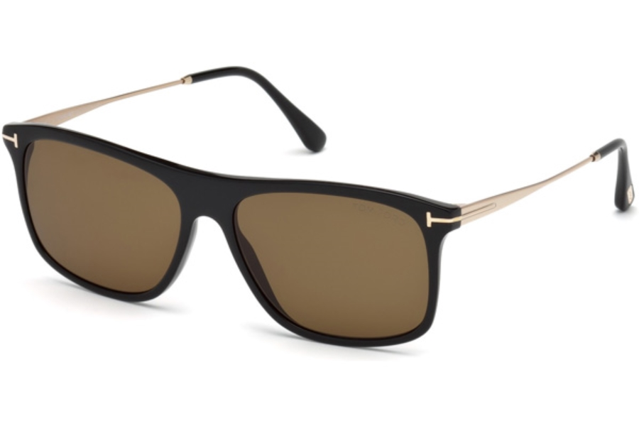 Tom Ford FT0588 Max-02 Sunglasses in 01E - Shiny Black / Brown