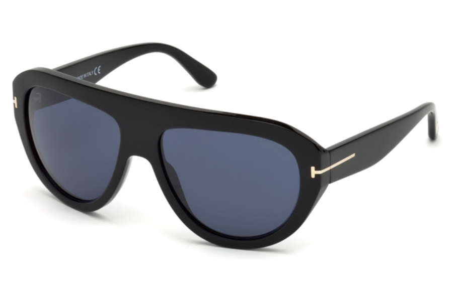 Tom Ford FT0589 Felix-02 Sunglasses in 01V - Shiny Black / Blue