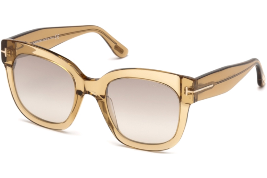 Tom Ford FT0613 Beatrix-02 Sunglasses in 45F - Shiny Light Brown / Gradient Brown