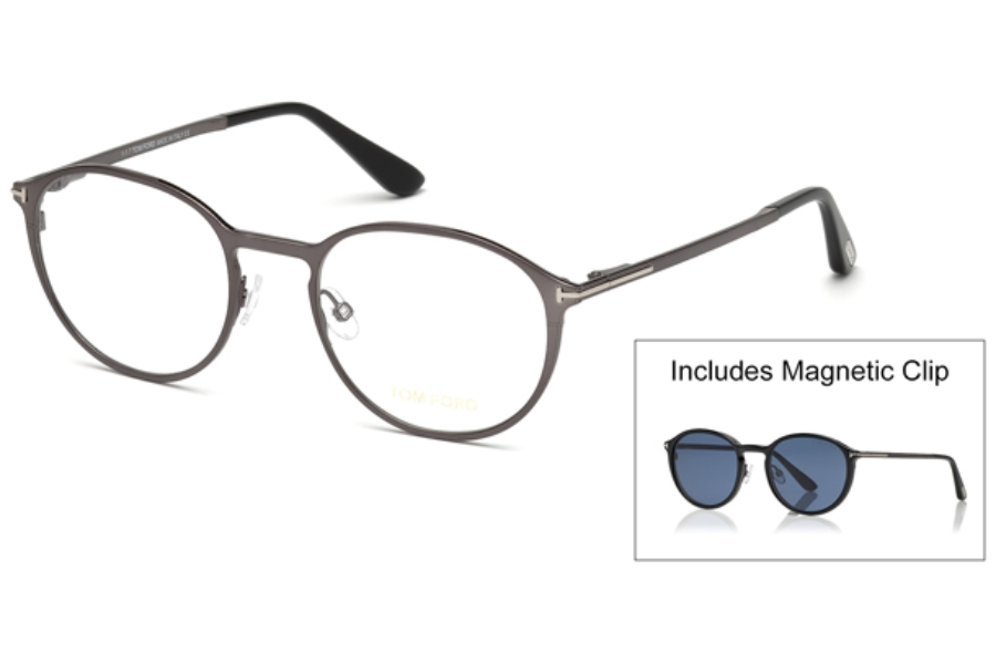 Tom Ford FT5476 Eyeglasses in 12V - Shiny Dark Ruthenium / Blue