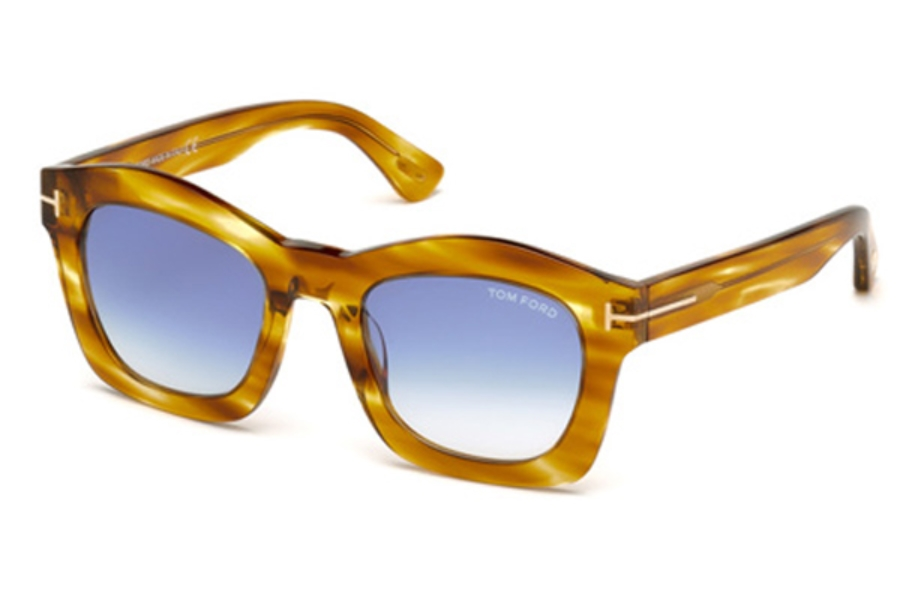 Tom Ford FT0431 Greta Sunglasses in 41W - Yellow/Other / Gradient Blue