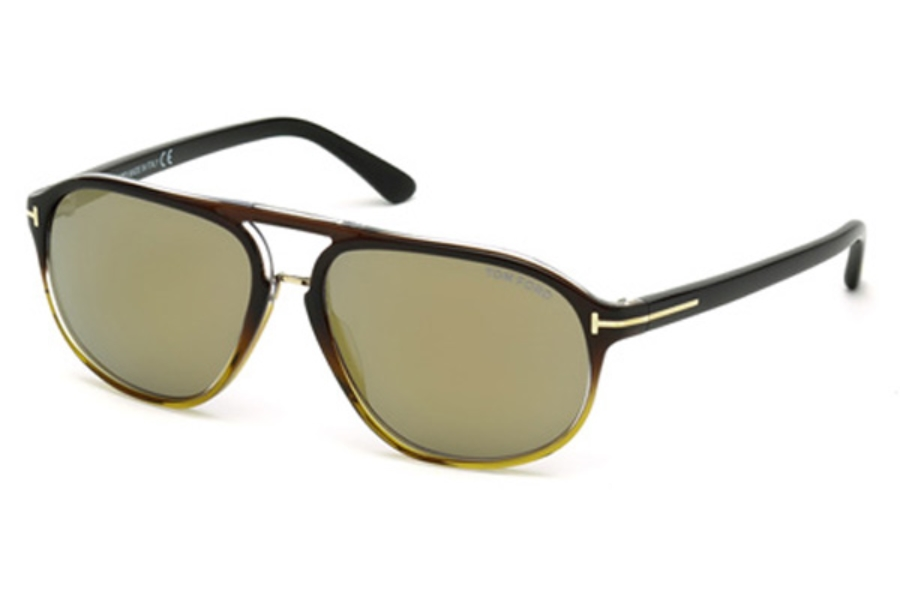 Tom Ford FT0447 Jacob Sunglasses in 05C - Black/Other / Smoke Mirror