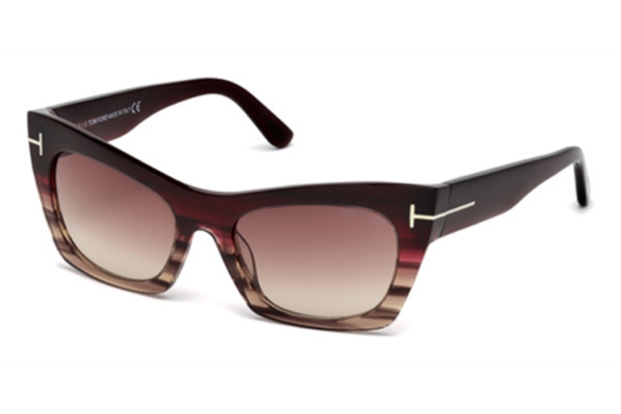 Tom Ford FT0459 Kasia Sunglasses in 71F - Bordeaux/Other / Gradient Brown
