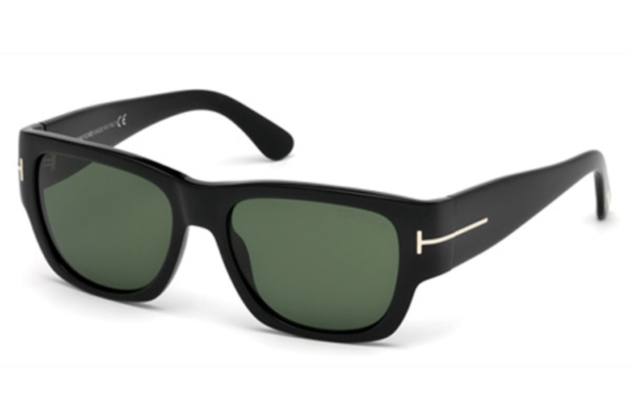 Tom Ford FT0493 Stephen Sunglasses in 01N - Shiny Black / Green