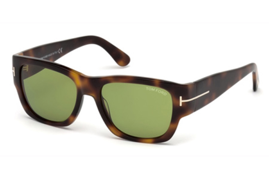 Tom Ford FT0493 Stephen Sunglasses in 52N - Dark Havana / Green