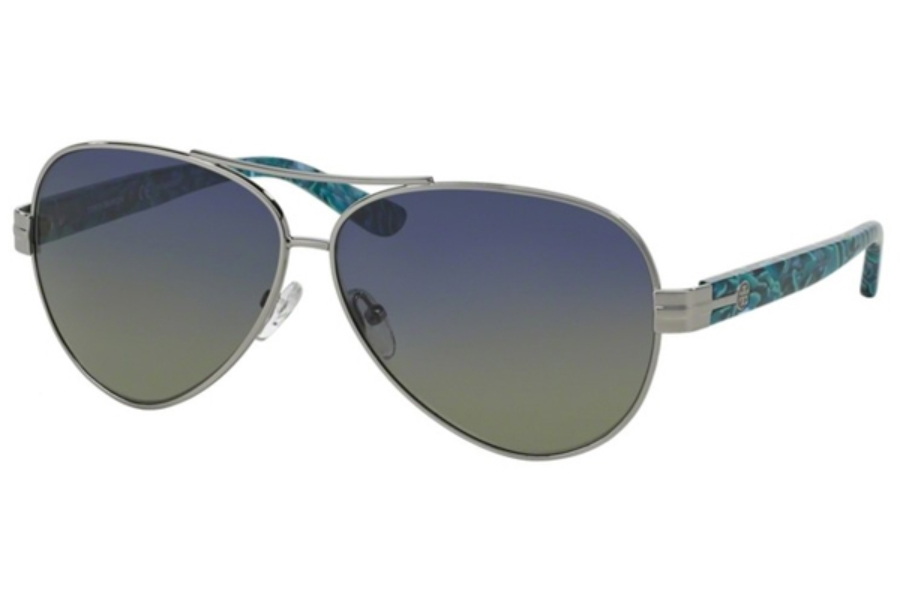 Tory Burch TY6031 Sunglasses in 10237 Silver Blue Green Polarized