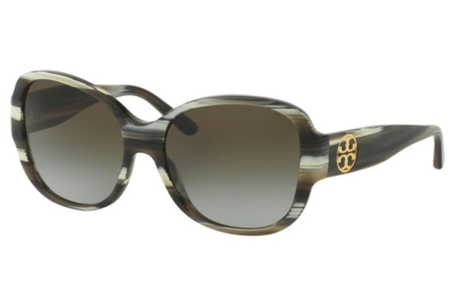 Tory Burch TY7108 Sunglasses in 10507Z Olive Horn / Green Clear Gradient