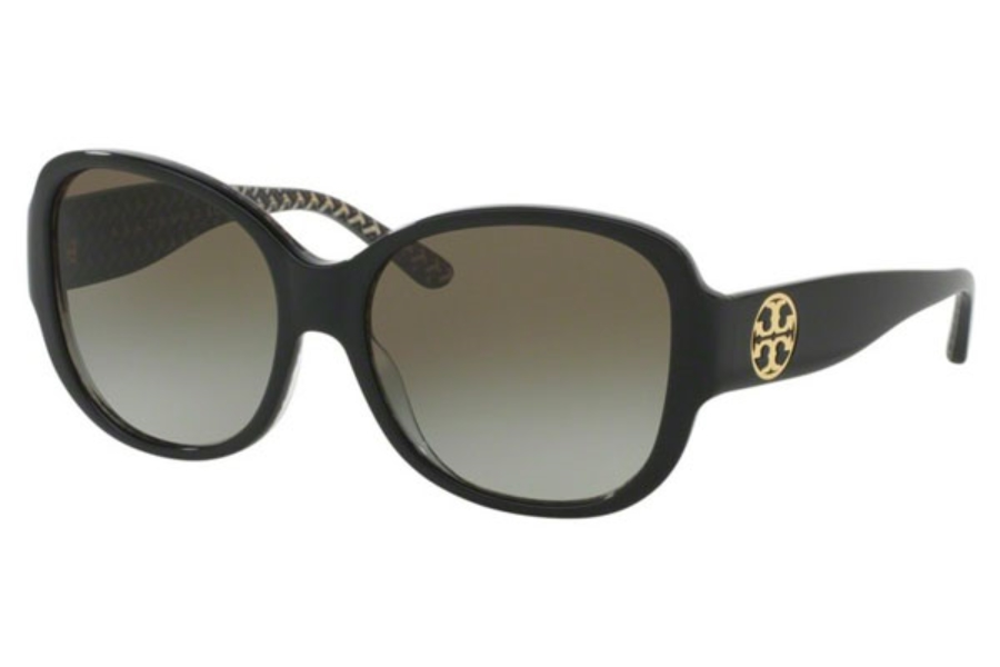 Tory Burch TY7108 Sunglasses in 16538E Black/Black White Zig Zag / Green Gradient