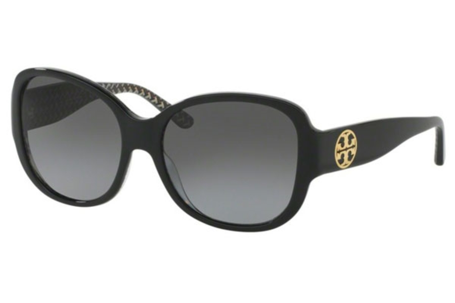 Tory Burch TY7108 Sunglasses in 1653T3 Black/Black White Zig Zag / Grey Gradient Polarized