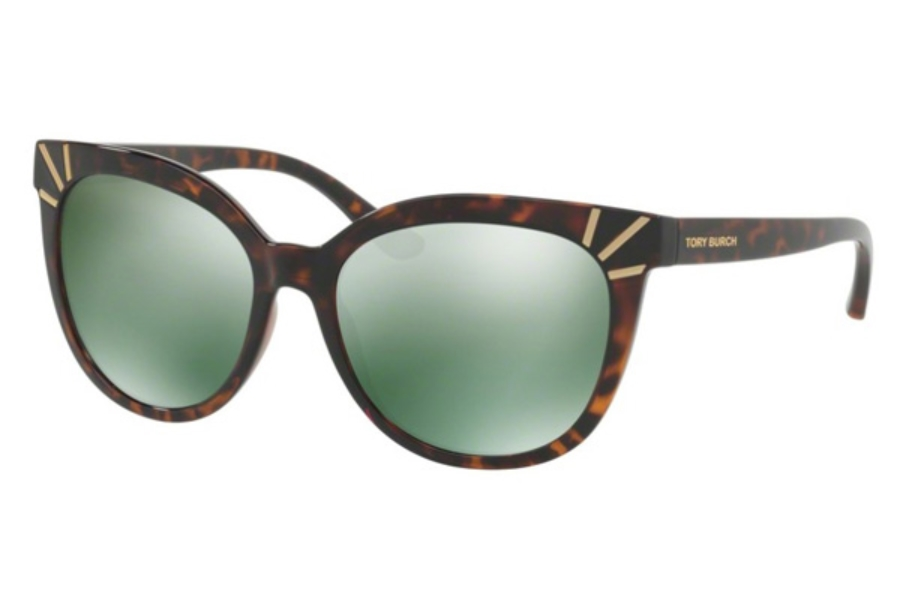 Tory Burch TY9051 Sunglasses in 13786R Dark Tortoise / Green Mirror (Discontinued)