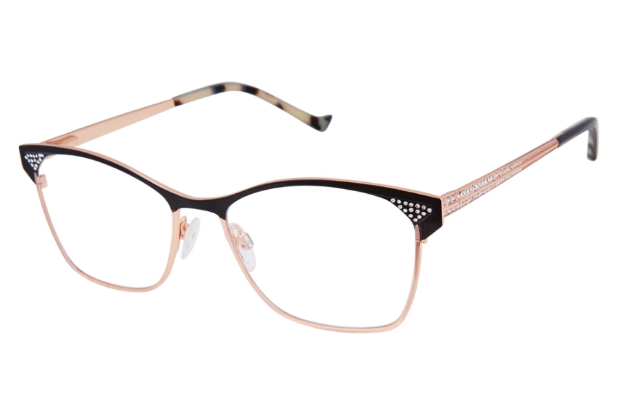 Tura TE265 Eyeglasses in BLK Black/Rose Gold