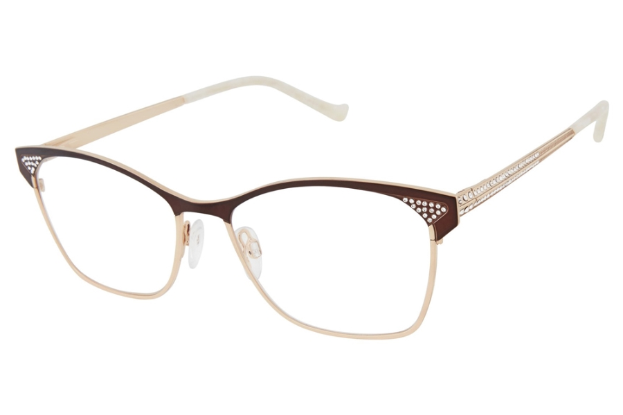 Tura TE265 Eyeglasses in BRN Brown/Gold