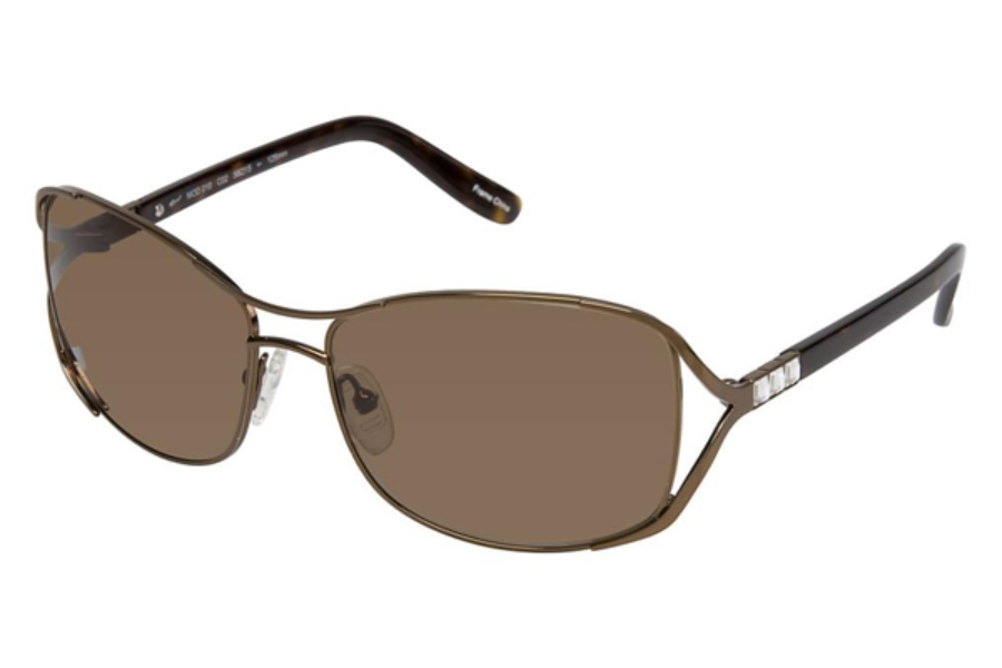 Tura 010 Sunglasses in Shiny Brown w/Tortoise and Crystal