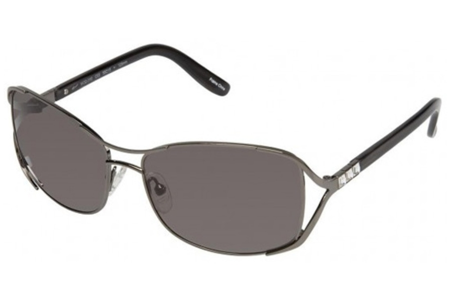 Tura 010 Sunglasses in Shiny Gunmetal w/Black and Crystal