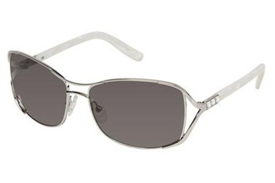 Tura 010 Sunglasses in Shiny Silver w/White Pearl and Crystal