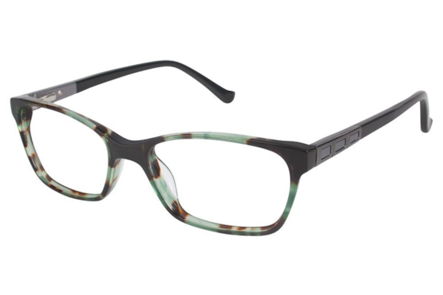 Tura R542 Eyeglasses in GRN Green Tortoise