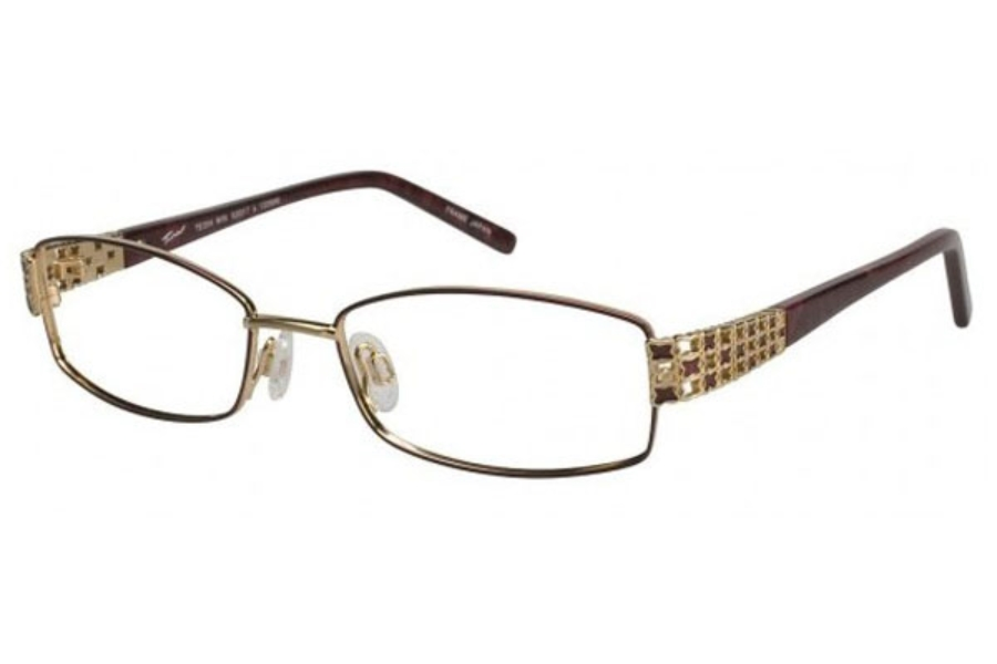 Tura TE204 Eyeglasses in Wine/Gold