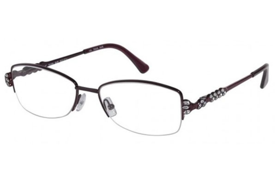 Tura TE209 Eyeglasses in Burgundy w/ Crystal