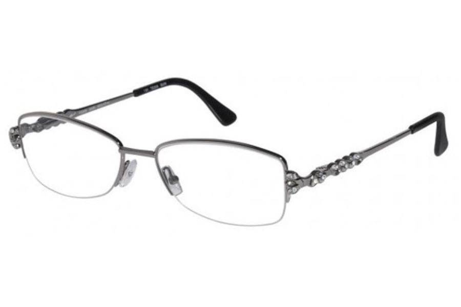 Tura TE209 Eyeglasses in Gunmetal w/ Gray and Clear Crystal