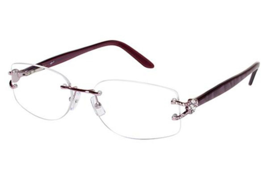 Tura TE217 Eyeglasses in PINK W/CLEAR CRYSTALS (PNK)