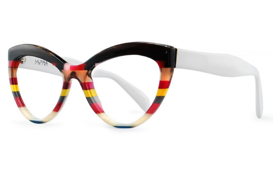 Ultra Limited Lampedusa Eyeglasses in Black Red/White