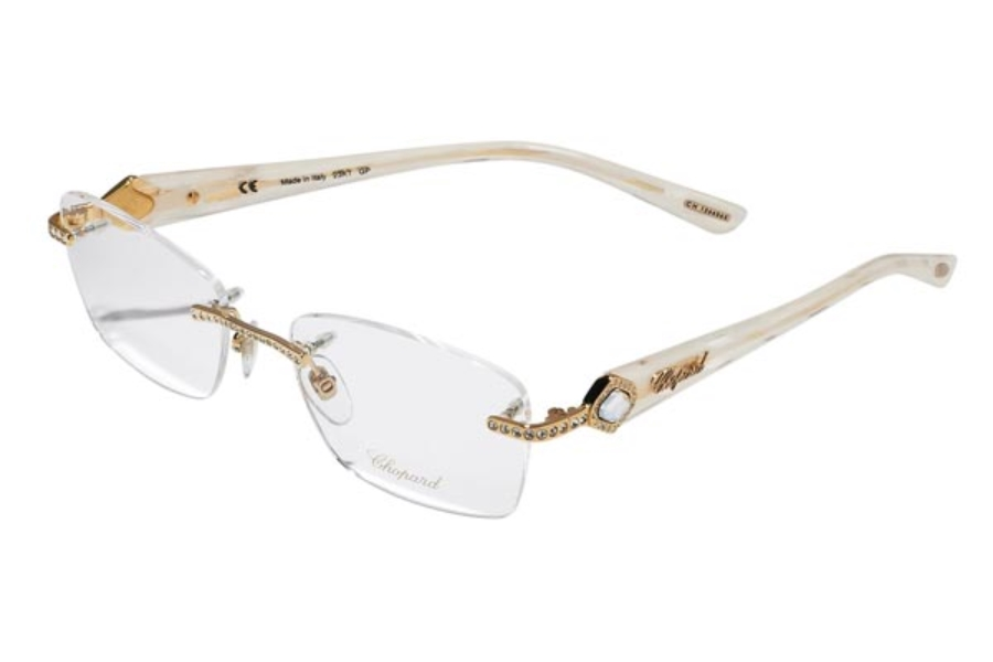 Chopard VCH A33 Eyeglasses in VCH A33-300 White-Gold (GP 23Kt.)/Stones