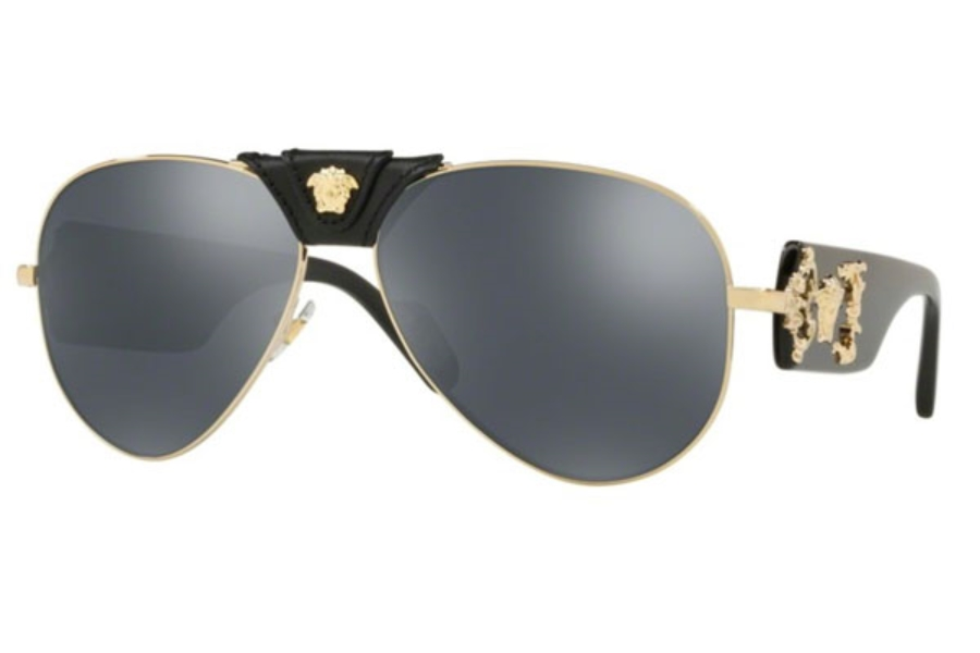 5c6eabcc248cf Versace VE 2150Q Sunglasses in 12526G Pale Gold   Grey Mirror Black ...
