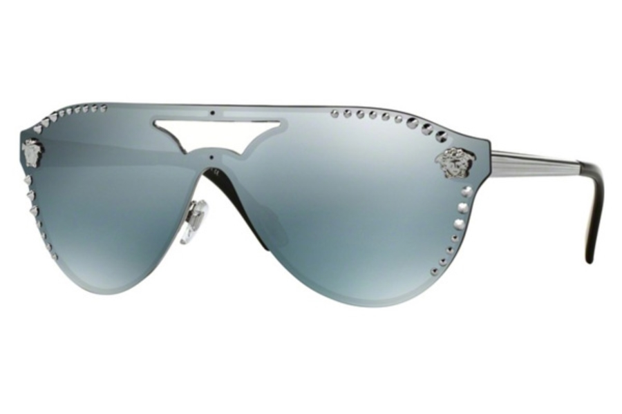 Versace VE 2161 Sunglasses in 10011U Gunmetal / Blue Mirror Silver 80