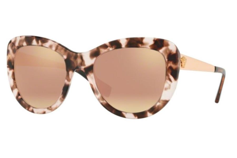 7dfe7755aa6c Versace VE 4325 Sunglasses in 52534Z Pink Havana   Grey Mirror Rose Gold ...