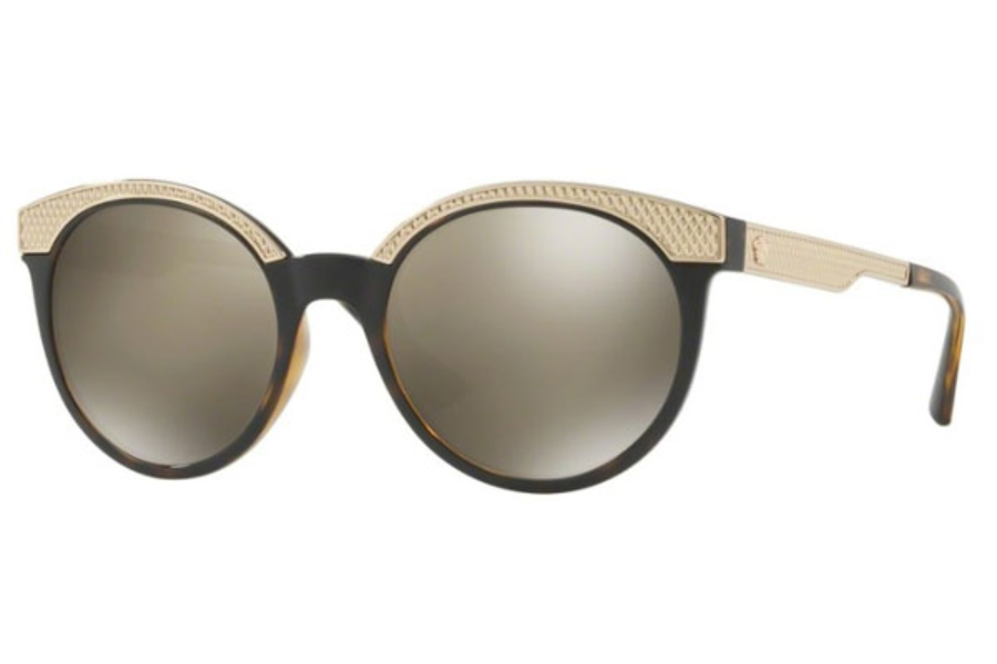 52d7da74b16 Versace VE 4330 Sunglasses in 108 5A Havana   Light Brown Mirror Dark Gold  ...