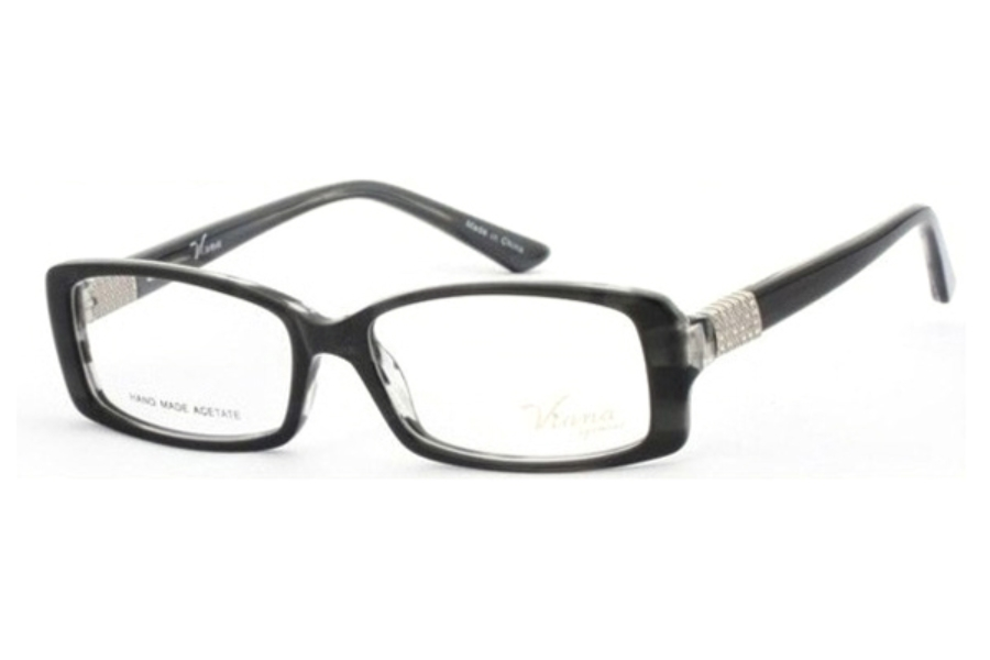 Viana V1003 Eyeglasses in C1 Black horn