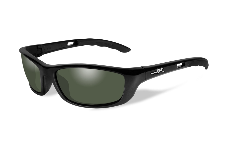 Wiley X P-17 Sunglasses in P-17 Gloss Black w/ Smoke Green Polarized