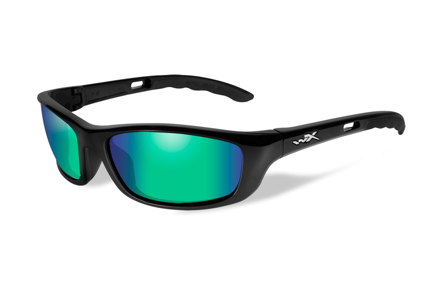Wiley X P-17 Sunglasses in P-17GM Gloss Black w/ Emerald Mirror Polarized Lenses