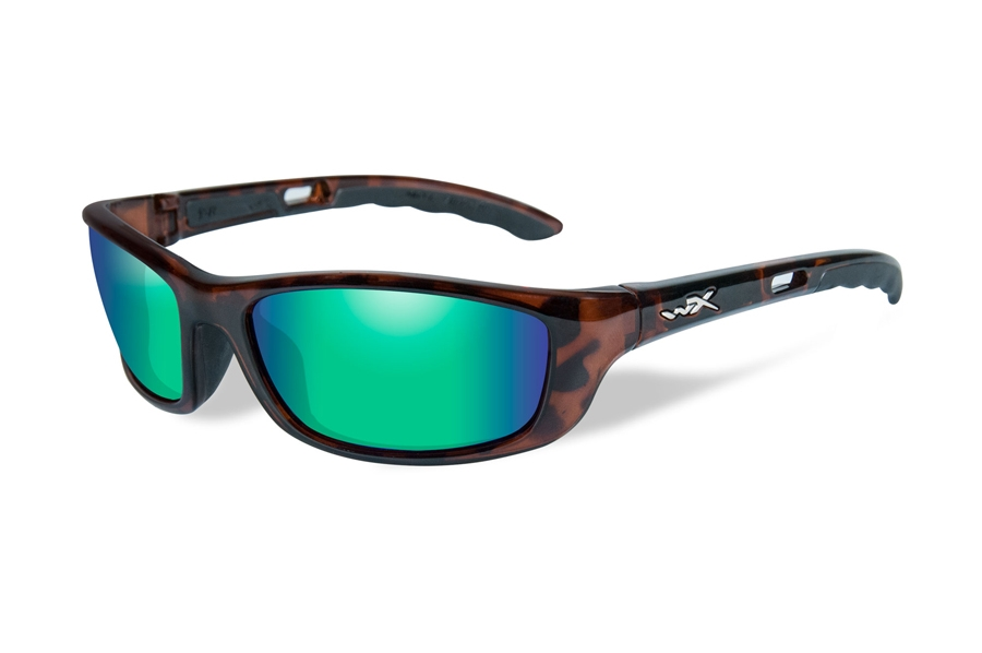 Wiley X P-17 Sunglasses in P-17KA Brown Gloss Demi w/ Emerald Mirror Polarized Lenses